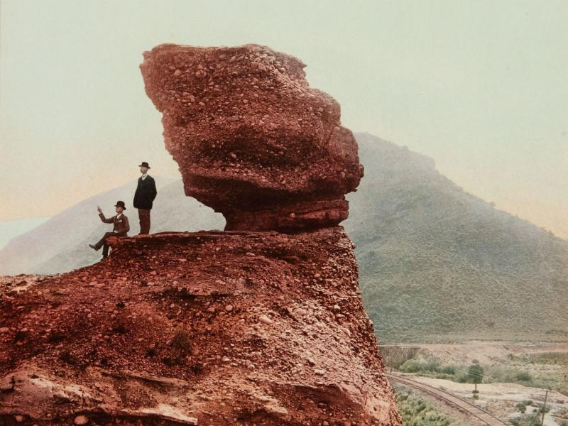 """book jacket art cropped detailPermission Line reads:""""Pulpit Rock, Echo Cañon, Utah, 1900 by William Henry Jackson. Used by permission of the High Museum of Art, Atlanta."""""""