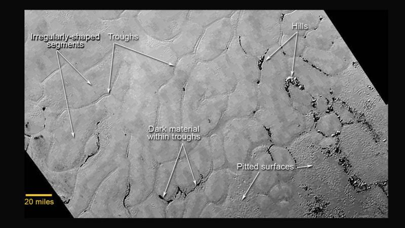 "In the center left of Pluto's vast heart-shaped feature – informally named ""Tombaugh Regio"" — lies a vast, craterless plain that appears to be no more than 100 million years old, and is possibly still being shaped by geologic processes."