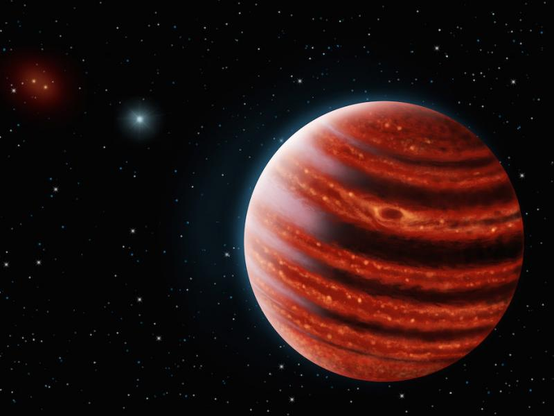 An artistic conception of the Jupiter-like exoplanet, 51 Eridani b, seen in the near-infrared light that shows the hot layers deep in its atmosphere glowing through clouds.