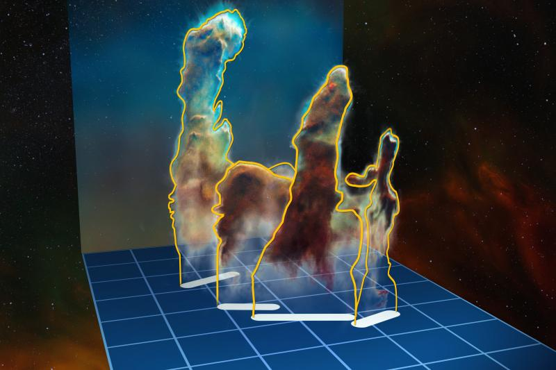 This visualisation of the 3-D structure of the Pillars of Creation is based on new observations of the object using the MUSE instrument on ESO's Very Large Telescope in Chile. The pillars actually consist of several distinct pieces on either side of the s