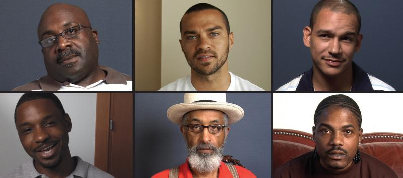 """""""Question Bridge: Black Males"""" attempts to represent black male identity in America via a video question-and-answer exchange. At top center is Jesse Williams, the project's executive producer."""