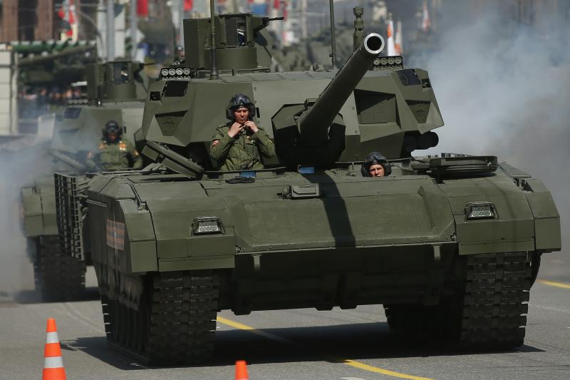 Russian Army T-14 Armata tanks drive towards Red Square to participate in the annual Victory Day Parade.