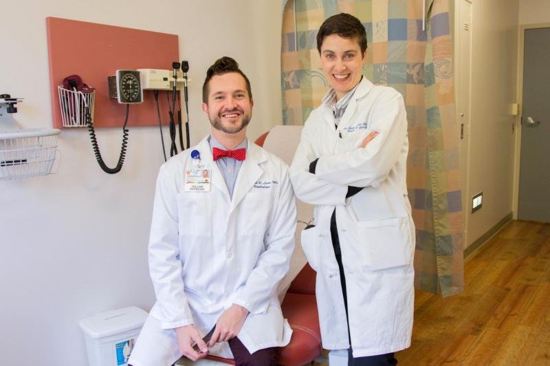 Nephrologist Mitchell Lunn (left) and OB-GYN Juno Obedin-Maliver want to hear about the health issues on the minds of members the LGBTQ community.