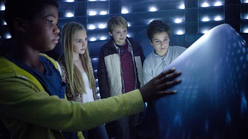 """In Earth to Echo, Brian """"Astro"""" Bradley, Ella Wahlestedt, Reese Hartwig and Teo Halm play a group of kids whose neighborhood is being destroyed by a highway construction project, forcing their families to move."""