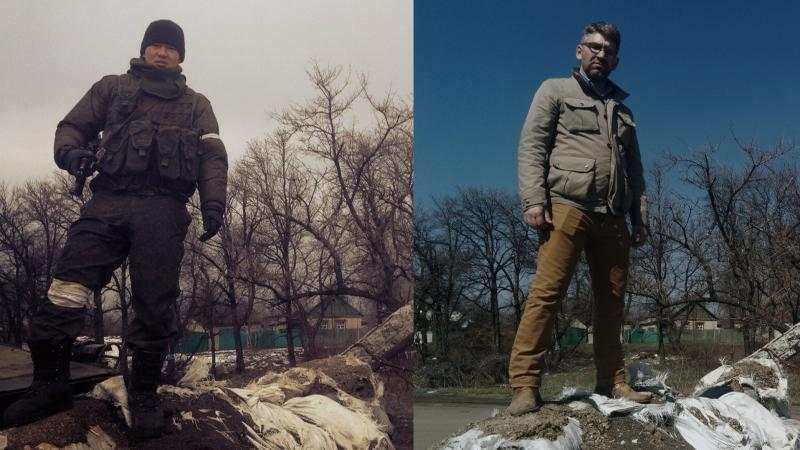 A soldier in the Russian army posed, rifle in hand, for a snapshot at a battlefield checkpoint. Simon Ostrovsky, at right, located the same spot in Vuhlehirsk, in Ukraine's Donetsk region.
