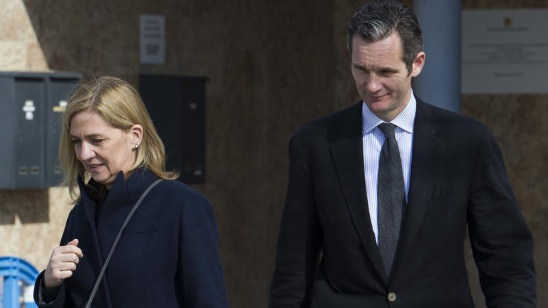 Spain's Princess Cristina and her husband, former Olympic handball player Inaki Urdangarin, leave the courtroom last year after a hearing in a landmark corruption trial on the Spanish Balearic island of Mallorca.