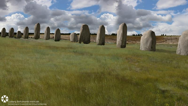 A row of large stones is seen in this rendering of researchers' discovery beneath part of Durrington Walls, near Stonehenge.