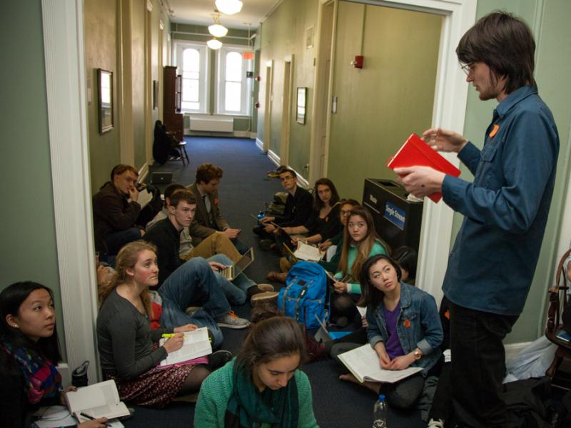 Alumnus Will Lawrence of the Fossil Fuel Divestment Student Network came back to Swarthmore to help the students effectively communicate their protest to the school's administrators.