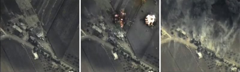 A combination of images taken from footage released by Russia's Defense Ministry shows a mountainous area in Syria before, during and after an airstrike Wednesday. Russia is being criticized for attacking groups other than ISIS militants.