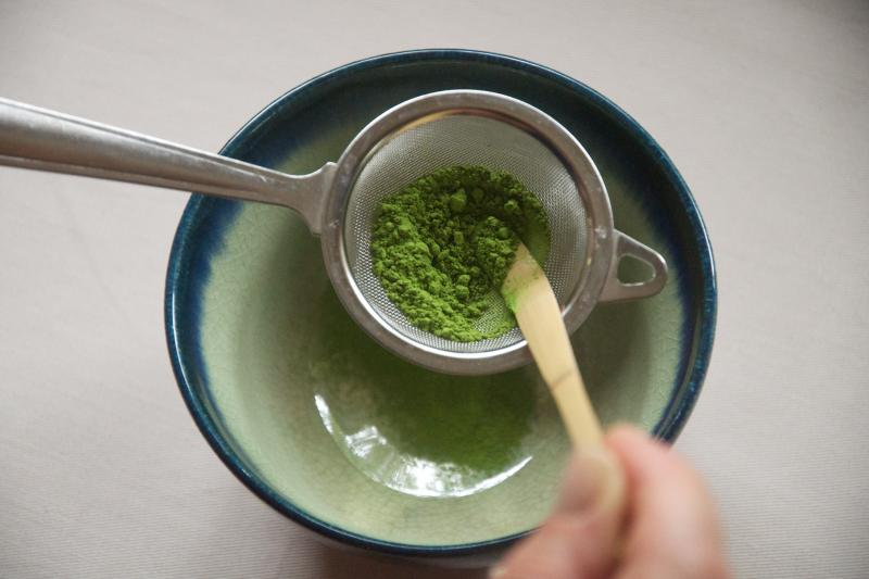 Matcha tea powder comes in two grades: ingredient and drinking. The drinking grade comes from the leaves at the top of the tea plant.
