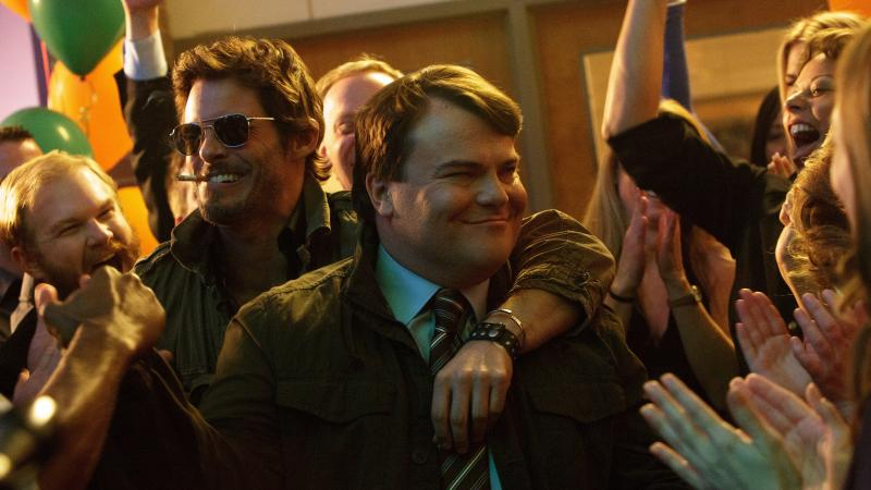 Henry Zebrowski (Craig), James Marsden (Oliver Lawless), and Jack Black (Dan Landsman) in Jarrad Paul and Andrew Mogel's The D Train.