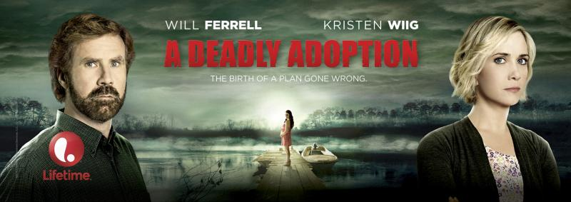 This is the real promo art for a real Lifetime movie starring Kristen Wiig and Will Ferrell.