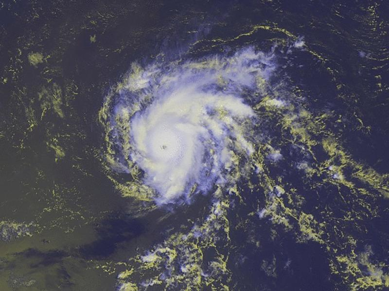 Hurricane Danny is seen in a NOAA image taken by the GOES-East satellite taken at 10:15 ET on Thursday. The storm, now a Category 2, is expected to lose strength over the next day or two.