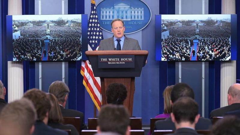 White House Press Secretary Sean Spicer delivers a statement in the Brady Briefing Room of the White House on Saturday
