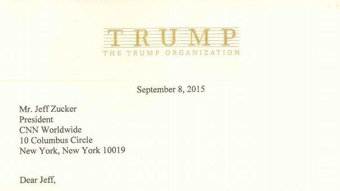 Donald Trump's letter to CNN President Jeff Zucker.