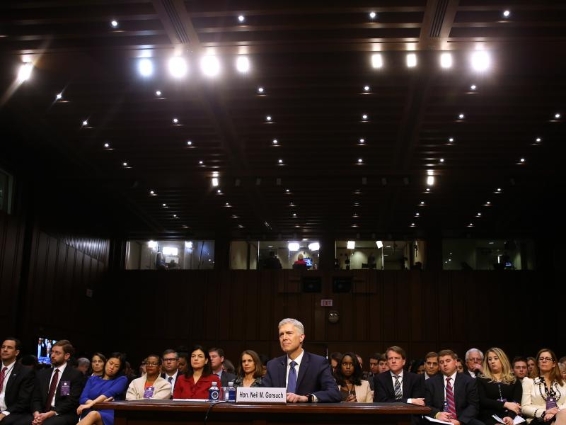 Neil Gorsuch takes part in a Senate Judiciary Committee confirmation hearing as US President Donald Trump's nominee for the Supreme Court on Capitol Hill in Washington, D.C. on Monday.