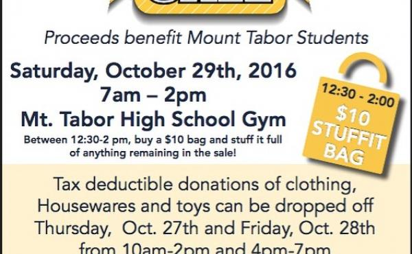 The Mount Tabor Rummage Sale is Saturday, Oct. 29 from 7 a.m. - 2 p.m. in the MTHS Gym. Don't miss these great deals on furniture, household goods, clothing, toys, and more! All proceeds support MTHS students.
