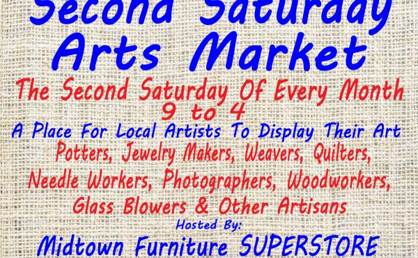 Second Saturday Arts Market at Midtown Furniture Superstore & Mattress Center in Madison.  The second Saturday of each month.