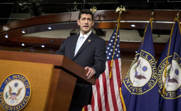Rep. Paul Ryan, R- Wis., at a news conference following a meeting of House Republicans on Tuesday night. Ryan says he will run for House speaker if the disparate GOP factions can get behind him.