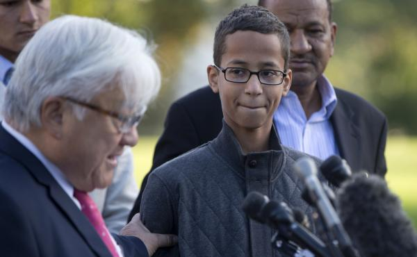 After being offered a scholarship in Qatar, Ahmed Mohamed will move to that country. The 14-year-old is seen here at a Capitol Hill event in Washington, D.C., Tuesday.