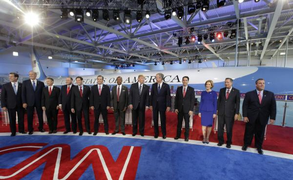 Republican presidential candidates take the stage during the CNN Republican presidential debate at the Ronald Reagan Presidential Library and Museum last month.