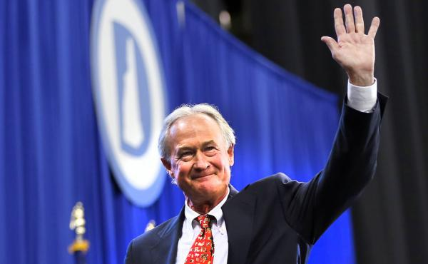 Former Rhode Island Gov. Lincoln Chafee leaves after speaking at the New Hampshire Democratic convention in  September in Manchester, N.H.