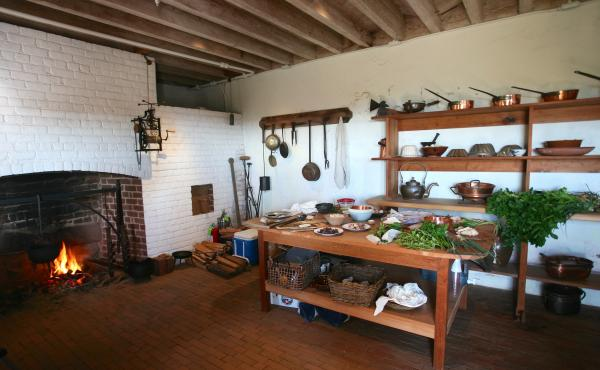 In the historic kitchen of Monticello, using period utensils, food historian Paula Marcoux recreates 18th-century French dishes as James Hemings would have made them. Hemings — who spent five years with Thomas Jefferson in France — had a mastery of Fr