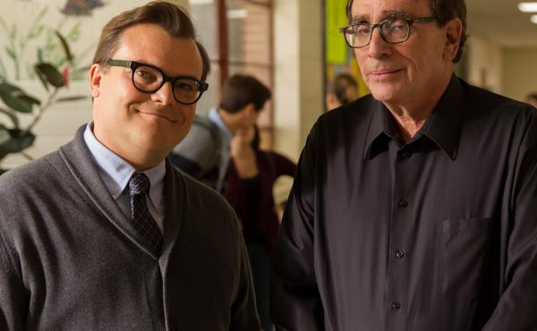 Jack Black and R.L. Stine on the set of the film adaptation of Goosebumps.