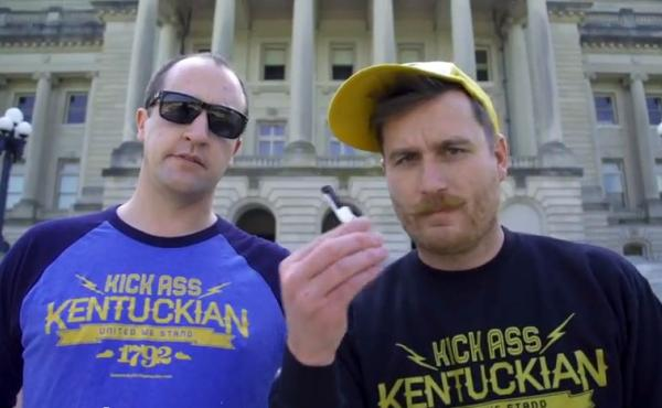 Whit Hiler (left) and Griffin VanMeter are spearheading the campaign to change Kentucky's slogan from Unbridled Spirit to Kentucky Kicks Ass.