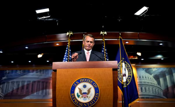 House Speaker John Boehner of Ohio pauses during a news conference on Capitol Hill on Friday. Boehner informed fellow Republicans that he would resign from Congress at the end of October, stepping aside in the face of hardline conservative opposition that