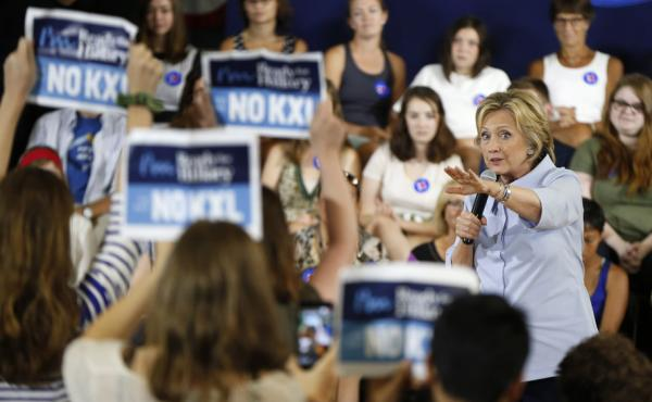 Hillary Clinton asks protesters opposed to the Keystone XL oil pipeline to stop disrupting her campaign event Friday in Portland, Maine.