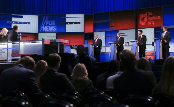 Republican presidential candidates Jim Gilmore, Lindsey Graham, Bobby Jindal and Rick Perry participate in a pre-debate forum Aug. 6 in Cleveland. The event gave airtime to seven candidates whose polling numbers were below a top-ten cutoff Fox News set to