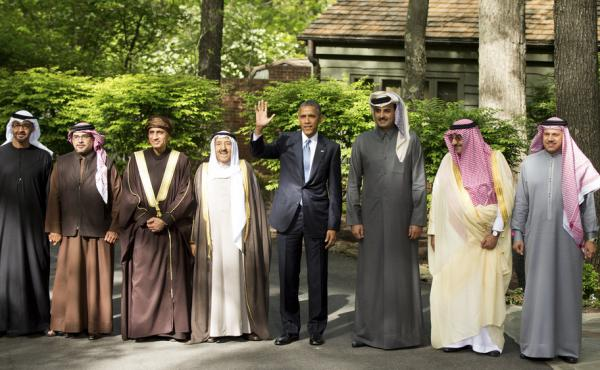 President Obama hosts leaders of the Gulf Cooperation Council at Camp David, Md., on May 14. The president gave assurances that the U.S. would support its allies in the region concerned over Iran's growing influence.