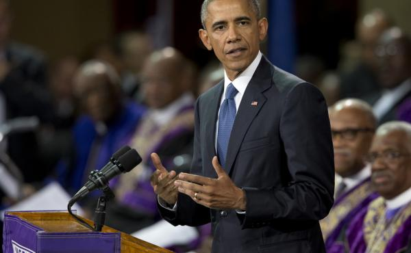 President Obama speaks during services honoring the life of the Rev. Clementa Pinckney on Friday.