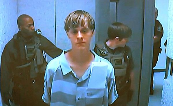 Dylann Roof appears via video before a judge in North Charleston, S.C, today. The 21-year-old man accused of killing nine people inside a black church in Charleston made his first court appearance and bail was set for $1 million on a charge of weapons pos