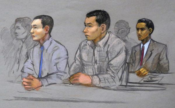 Azamat Tazhayakov, left, Dias Kadyrbayev, center, and Robel Phillipos, right, college friends of convicted Boston Marathon bomber Dzhokhar Tsarnaev, sit during a hearing in federal court in Boston in May 2014.