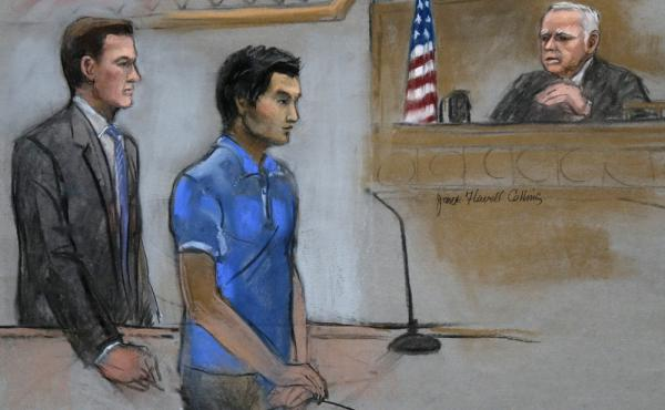 Dias Kadyrbayev, a college friend of Boston Marathon bombing suspect Dzhokhar Tsarnaev, is depicted in a court room sketch.