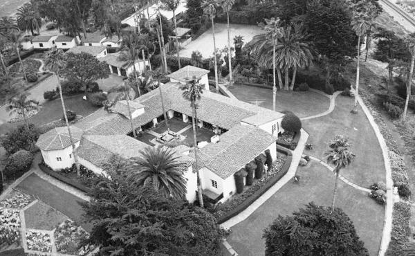 President Richard Nixon's California home, seen in 1969, is back on the market for $75 million. The 10-room Spanish-style adobe is located in San Clemente.