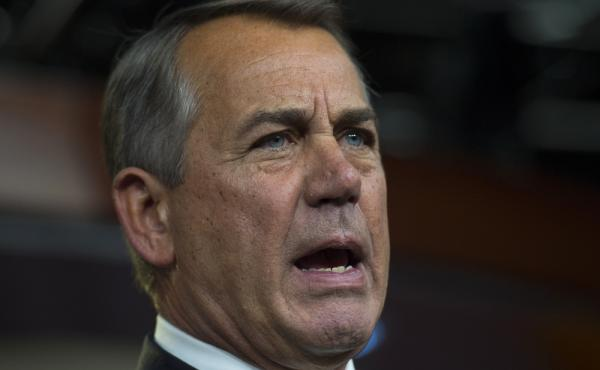House Speaker John Boehner of Ohio speaks during a news conference on Capitol Hill in Washington, on Thursday.