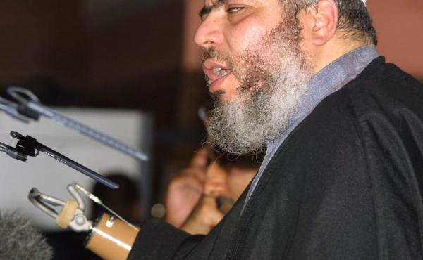 Abu Hamza al-Masri, also known as Mustafa Kamel Mustafa, at a 2002 fundamentalist Islamic conference in London, where he condemned what he called oppression of Muslims in the West. Masri was sentenced Friday in U.S. court to life in prison on terrorism-re