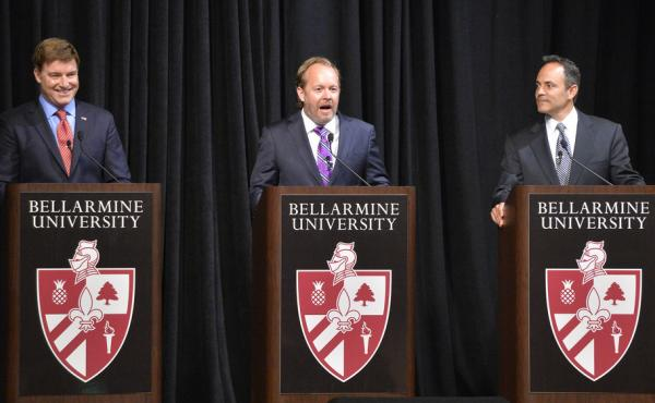 Candidates for governor of Kentucky: Democrat Jack Conway (from left), independent Drew Curtis and Republican Matt Bevin.
