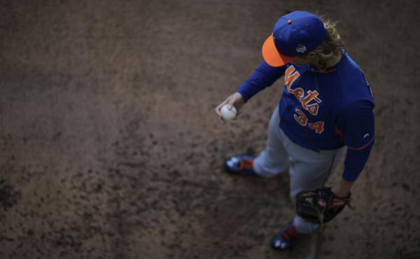 New York Mets pitcher Noah Syndergaard throws before Game 2 of the World Series against the Kansas City Royals on Wednesday. Game 3 is Friday night in New York.