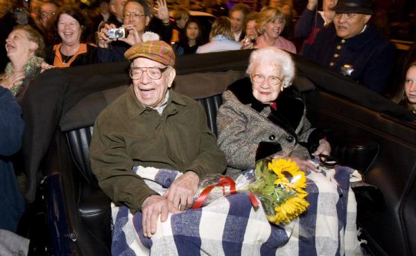 In this 2009 photo, survivors William Del Monte and Rose Cliver are honored at a ceremony for the earthquake's anniversary.