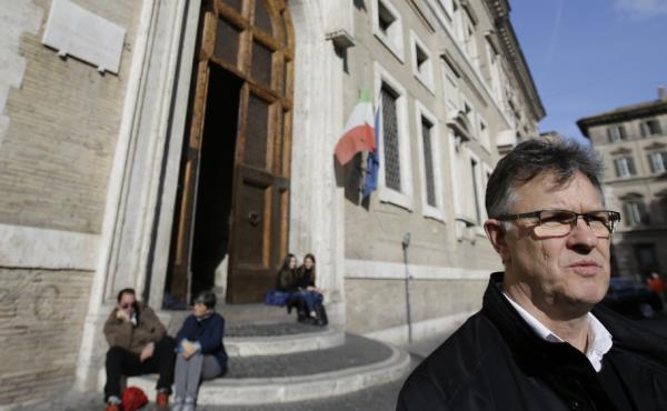 Peter Saunders, a British advocate for survivors of sexual abuse by priests, in Rome on Saturday. Saunders is a high-profile abuse survivor and critic of the Vatican — and until Saturday, was a member of Pope Francis' sex abuse advisory commission.