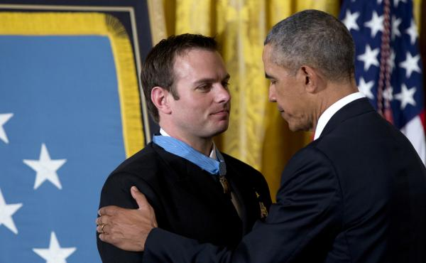 Senior Chief Special Warfare Operator Edward Byers was presented with the Medal of Honor by President Obama at the White House Monday.