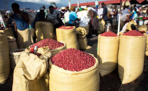Sacks full of peanuts are displayed for sale at a market in Port-au-Prince, Haiti. Aid groups say they are dismayed by a planned influx of American-grown peanuts from a U.S. agricultural surplus that they fear could undercut a vital cash crop in the impov