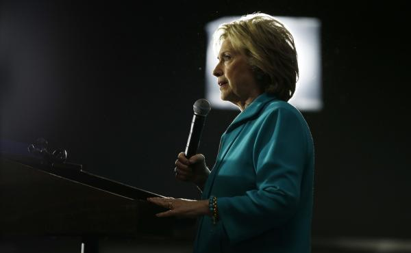 Democratic presidential candidate Hillary Clinton speaks at an International Brotherhood of Electrical Workers training center on Tuesday in Commerce, Calif.