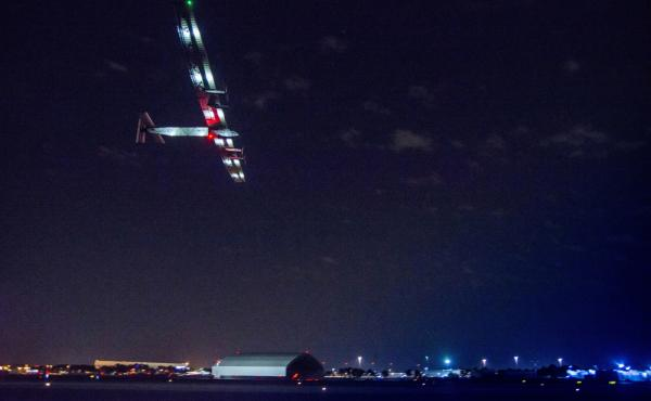The Solar Impulse 2, piloted by Bertrand Piccard, takes off from John F. Kennedy International Airport in New York on Monday, starting a four-day journey to Southern Spain.
