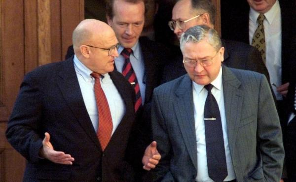Vyacheslav Trubnikov (right) was head of the Foreign Intelligence Service, Russia's equivalent of the CIA, from 1996 to 2000. He's shown here speaking with U.S. Deputy Secretary of State Richard Armitage in 2001 in Moscow. Trubnikov was Russia's deputy fo
