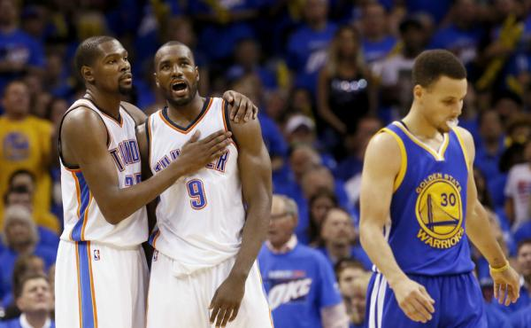Kevin Durant (left) will leave the Oklahoma City Thunder to join the Golden State Warriors and guard Stephen Curry (far right). The Warriors ended the Thunder's season in May.